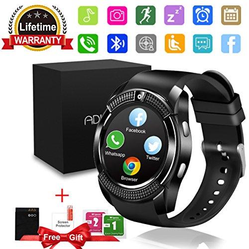Bluetooth Smartwatch, Wasserdicht Smart Watch Rund mit SIM Kartenslot Whatsapp Touchscreen, Intelligente Armbanduhr Sport Fitness Tracker Armband fur Android iphone ios Samsung Sony Huawei Damen Herren