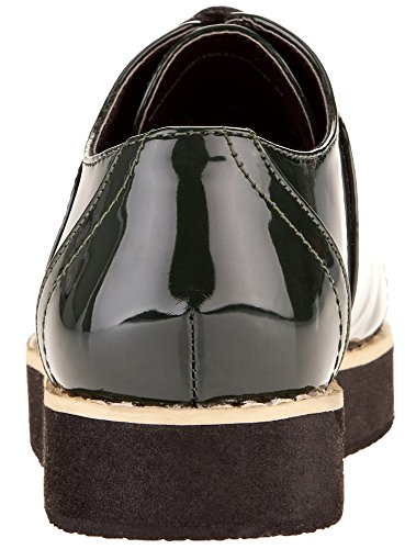 oodji Collection Damen Oxford-Schuhe aus Lederimitat Grün (6900N)