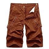 AYG Herren Cargo Shorts Bermudas Schwarz Baumwolle Shorts(Brick red,32)