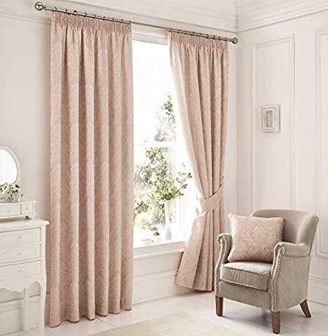 Rose Pink Floral Damask Pencil Pleat / Tape Top Cotton Blend Curtains - 66