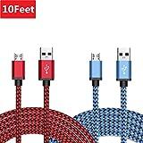 [Lot de 2]BeneStellar Nylon Câbles Micro USB Haute Vitesse USB 2.0 A Male vers Micro B - Câble de Charge et Synchronisation avec Transfert de Données pour appareils Android, Samsung Galaxy, Huawei, HTC, Sony, Nexus, Motorola, LG, Sprint et plus (2x3m, Rouge+Bleu)