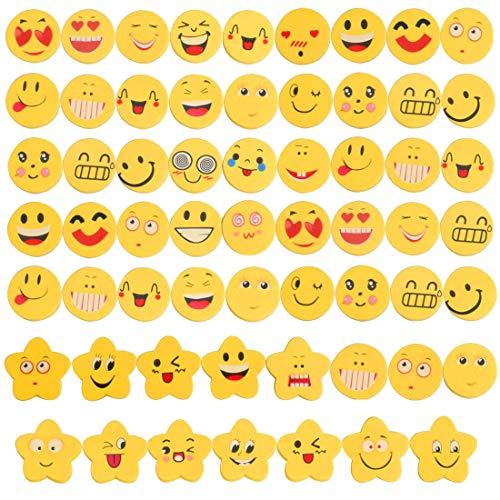60 pezzi emoji emoticon gomma cancellare matita bomboniera regalo per bambini (60 emoji-1)