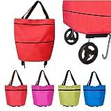Finoki leichte Einkaufswagens Foldable Einkaufstasche Mini Einkaufstrolley zufällige Farbe