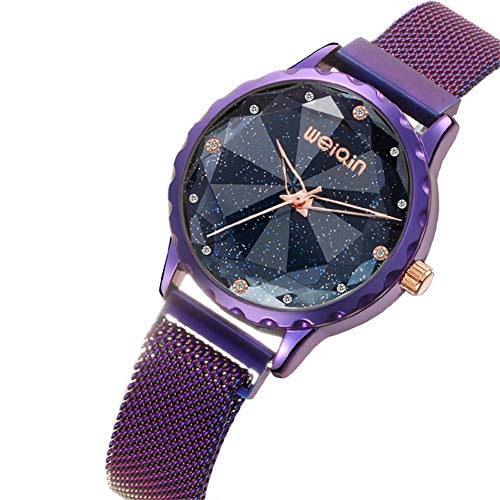 SK Frauen Dress Watches Magnetic Star Sky Diamond Dial Damen Quarz Uhr Edelstahl-Maschen-Band-Beiläufige Roségoldarmband-Armbanduhr,Purple