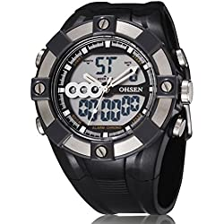 LEORX Premium OHSEN Waterproof Backlight Digital Alarm Boys Mens Casual Sport Watch
