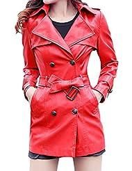 Smile YKK Chaqueta Locomotora de solapa Cinturón de piel sintética para mujer perchero de pared de polvo Trench Coat