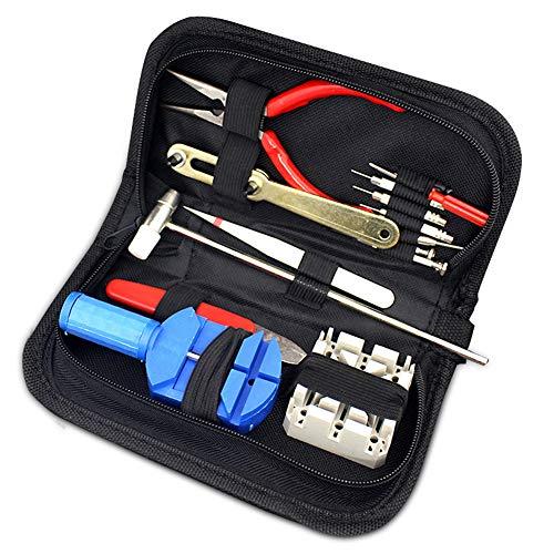 Uhrenwerkzeug Set 16tlg Uhr Reparatur Uhrmacherwerkzeug Batteriewechsel Stiftausdrücker Gehäuseöffner in Schwarze Aufbewahrungstasche (16)
