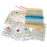 NiceButy 188pcs 5 mm varios colores transparente LED w/resistencias (8 colores, pack de 80)