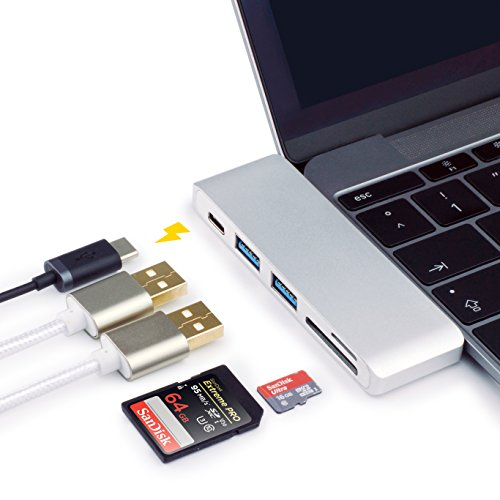 MyGadget USB Typ C Hub Aluminium Multiport Adapter [USB-C, 2 x USB, SD, micro SD Karten Steckplatz] - Ladeanschluss für z.B. Apple MacBook Pro (ab 2016) 13-zoll-laptops Windows 7