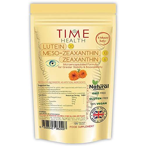 Neue Formel in Mikrokapseln - HOCHDOSIERT - 30 mg Lutein - 10 mg Meso-Zeaxanthin - 6 mg Zeaxanthin - Hohe Bioverfügbarkeit - Natürlich - Ohne Zusätze (120 Kapseln) -