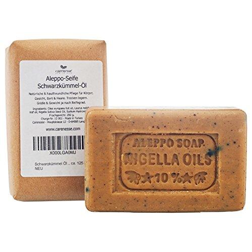 Carenesse Aleppo Seife mit Schwarzkümmelöl 2er Pack, 65% Olivenöl, 25% Lorbeeröl und 10% Schwarzkümmelöl, Olivenölseife, Schwarzkümmelölseife, Lorbeerölseife, 2 x 130 g