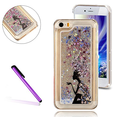 iPhone 5C Hülle,iPhone 5C Case,iPhone 5C Cove,3D Kreativ Muster Transparent Hard Case Cover Hülle Etui für iPhone 5C,EMAXELERS Cute Tier Cat Kaninchen Serie Bling Luxus Shiny Glitzer Treibsand Liquid  B Girl 4