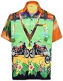LA LEELA Shirt Camicia Hawaiana Uomo XS - 5XL Manica Corta Hawaii Tasca-Frontale Stampa Hawaiano Casuale Regular Fit ViolaDRT050 5XL