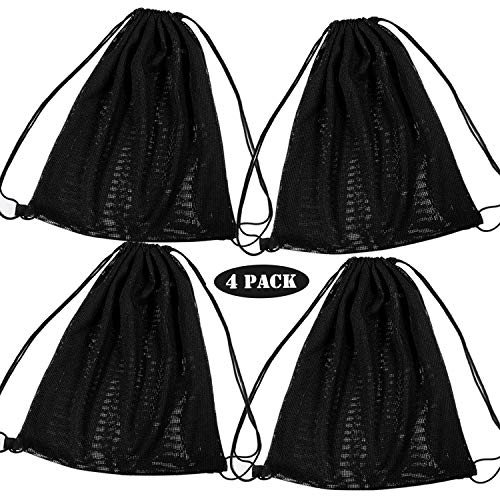 Whaline Netz-Rucksack mit Kordelzug Schulterriemen, Schwarz, Mesh-Tasche, multifunktionale Mesh-Tasche für Schwimmen, Strand, Tauchen, Reisen, Fitnessstudio, Camping, Training, Sport, 45,7 x 38,1 cm