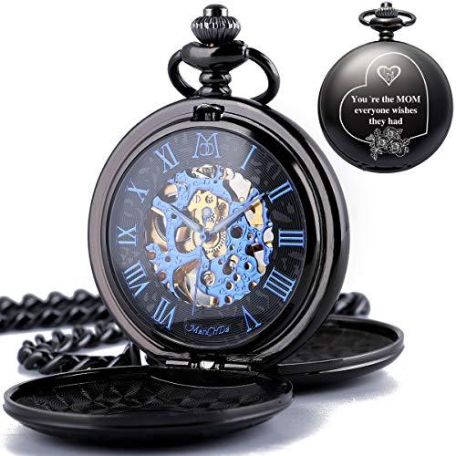 """ManChDa® Herren-Taschenuhr Smooth/Engraved Case Retro Dial römische Ziffern Steampunk Skelett Mechanisches Uhrwerk mit Kette + Geschenkbox (3.Engraved"""" to My mom"""")"""