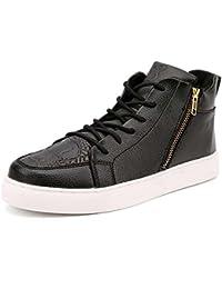 Alta Placa Superior Zapatos Pareja Casual Zapatos Color Puro Encaje Cremallera Zapatos Deportivos Martin Botas UE Tamaño 36-47,Black,39EU