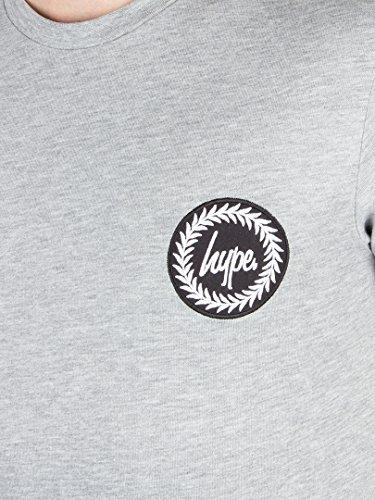 Hype Herren Kamm-Logo-T-Shirt, Grau Grau