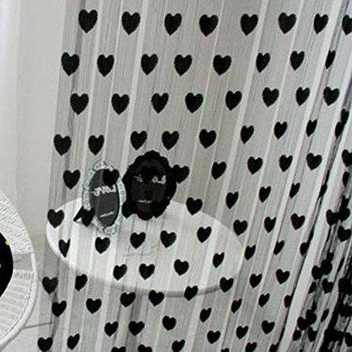 Fadenvorhang mit Herz-Motiv, Fenster-Teiler, Durchsichtig, Vorhänge - romantische Liebesherzen - Vorhang Spaghetti dichte Perlen Vorhänge für Türen, Schwarz, Free Size