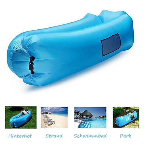 Wasserdichtes Aufblasbare Sofa - Tragbarer Liege Stuhl Luftsofa Aufblasbare Couch mit Tasche Zusammenklappbar Sitzsack für Camping, Park, Reisen, Strand, Angeln, Schwimmen (Blau)