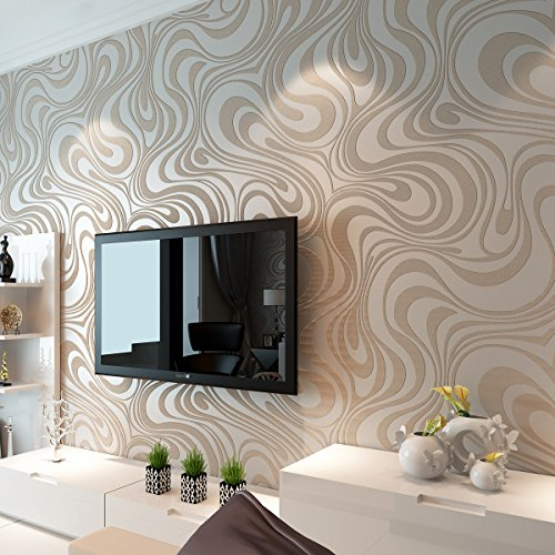 Modern Luxury Abstract Curves Glitter Non Woven Textured 3D Wallpaper For  Bedroom Living Room TV Backdrop Wall Murals Cream White One Roll