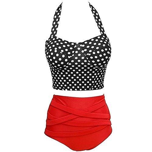Retro Damen Badeanzug Böden (SODIAL(R) Frauen Sommer Tupfen Drucken hohe Taille Bademode Retro Bikini Oberteile + Bandage Boden Badeanzug Schwarz + Rot-M)