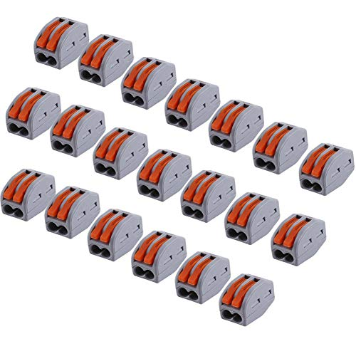 Akozon Spring Lever Terminal Block,20pcs 2/3/5 Way Reusable Drahtverbinder Electric Cable Connector Wire Universalbauklemme PCT-212 Weich Hartdraht 4 Vierkant Druckleitungskappe 2 Loch Drahtverbinder
