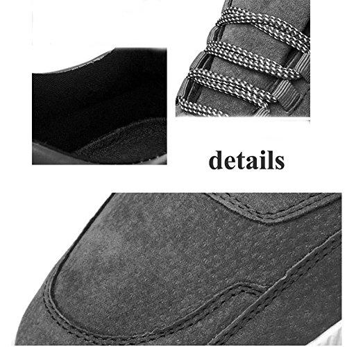 Onfly Pompa Uomini Scarpe sportive Scarpe casual Scarpe a piastre Scarpe da corsa Colore puro Punto rotondo laccio Snekers Formato Eu 39-44 Black