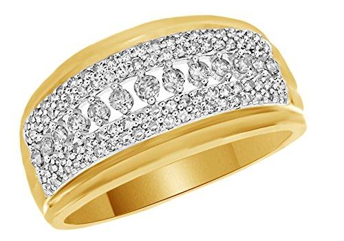 1/2carati rotondo bianco naturale diamante fede nuziale in oro 10ct (0.5cttw) e 10 ct oro giallo, 70 (22.3), colore: yellow, cod. mno-uk-m-cmr65677-yg-z