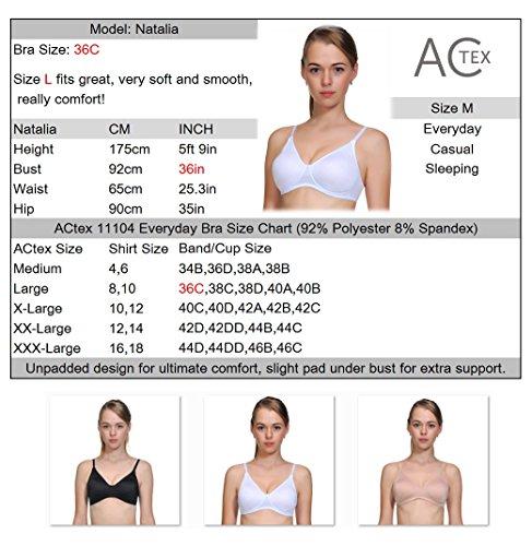 ACtex Frauen 3D Unterstützung Plus Größe Wirefree Ultra Glatte Rückseite Schließung Große Damen Weich BH Beige