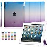 Funda iPad 2/3/4, Dowswin - Funda de piel sintética carcasa frontal con función de encendido apagado y transparente duro Carcasa trasera para iPad 2/3/4, Purple+Blue