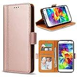 Bozon Galaxy S5 Hülle, Leder Tasche Handyhülle Flip Wallet Schutzhülle für Samsung Galaxy S5 mit Ständer und Kartenfächer/Magnetverschluss (Rose Gold)