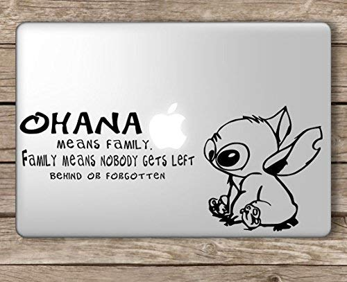 Stitch Ohana Means Family Disney - Apple MacBook Laptop Vinyl Sticker Decal, Die Cut Vinyl Decal for Windows, Cars, Trucks, Tool Boxes, laptops, MacBook - virtually Any Hard, Smooth Surface (Decal Disney Mac)