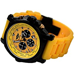 """'""""Watch, Aviator Watch with Chronograph, Yellow, with Case"""