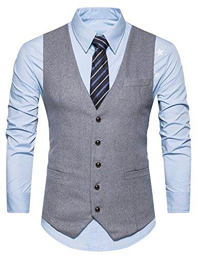 Einreihige Knöpfe (Boom Fashion Herren Anzugweste Einfarbig V-Ausschnitt Slim Fit Einreihige Knöpfe Vintage Business Weste Grau Large)