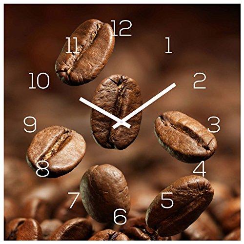 Wanduhr Glas 30x30cm Uhr Glasbild Kaffee Kaffeebohnen Coffee Wanddeko Glasuhr Küche