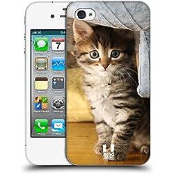 Head Case Designs Chat Tigré Chats Coque Dure pour l'arrière Compatible avec iPhone 4 / iPhone 4S