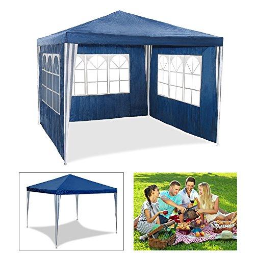 HG Tienda de campaña Carpa de jardín para fiestas sombría, marquesina toldos impermeable de 3 x 3 m , carpa para eventos, camping o asociaciones de alta calidad con tubos de acero, color azul