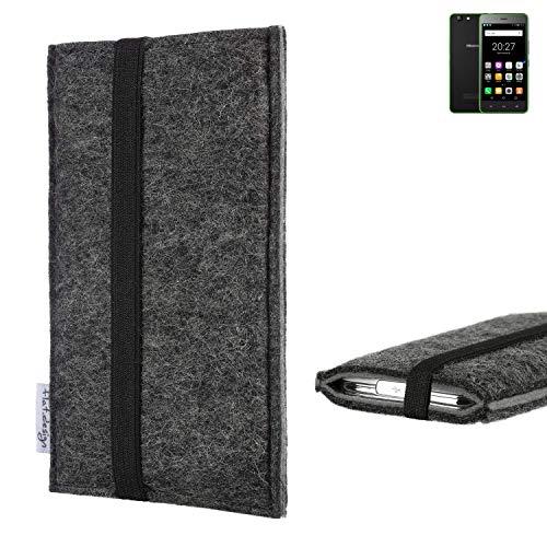 flat.design Handyhülle Lagoa für Hisense Rock Lite | Farbe: anthrazit/grau | Smartphone-Tasche aus Filz | Handy Schutzhülle| Handytasche Made in Germany