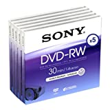 Sony DVD-RW (rewritable) für DVD-Camcorder, 30 Minuten, 5er Pack