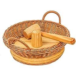 Cesteria Aparici - Cascanueces, mimbre y madera con maza