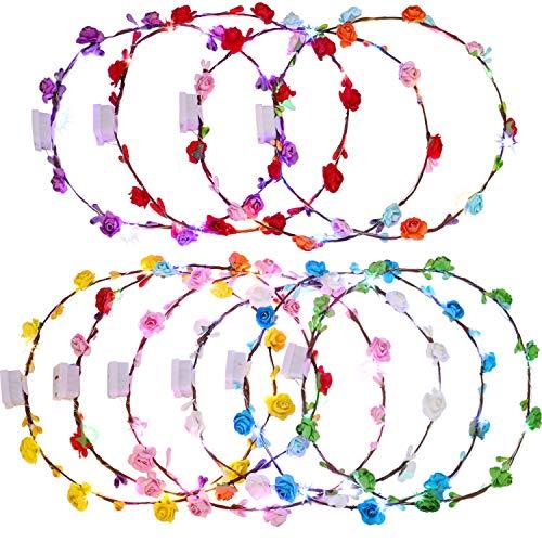 10 Stücke LED Blume Stirnbänder Blume Kronen LED Kranz Stirnband Blume Haarschmuck für Mädchen Frauen Party Lieferungen (Blume Kronen)