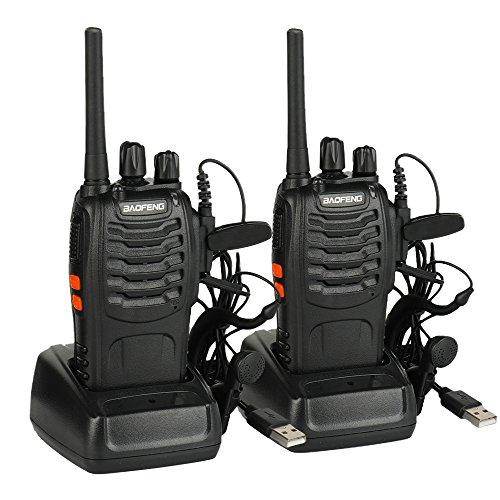 Walkie Talkie Baofeng BF-88E Profesional, PMR446 Libre de Licencia, 16 Canales, Walkie Talkie Recargables USB, versátil y fácil de Uso con Auriculars (2 pcs)