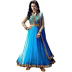Anarkali Suit for Women Clothing Designer Party Wear Today Offers Low Price Sale Top Sky Blue Color Banglori Silk Fabric Free Size Salwar Kameez Dress