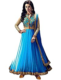 Rensila Women's Sky Blue & Beige Color Banglori Silk & Net Fabric Anarkali Salwar Suit