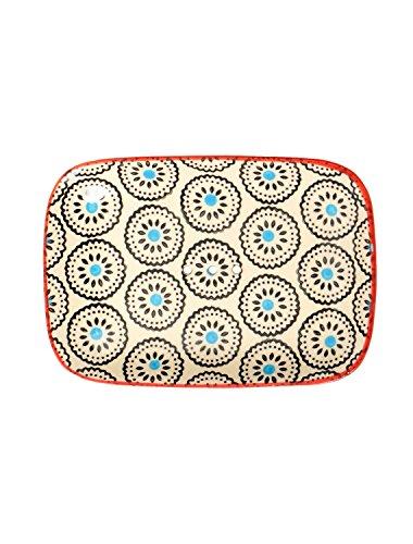 Eckige Seifenschale Matthes aus handbemalter Keramik mit Löchern für den Wasserablauf 13,5 x 9,5 x 2 cm
