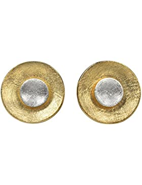 SILBERMOOS Ohrstecker bicolor Kreis rund 2-in-1 variabel gebürstet goldplattiert vergoldet Sterling Silber 925...