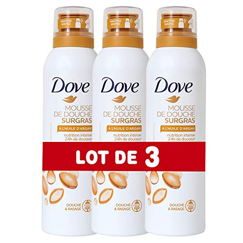 Dove Gel Douche Mousse Surgras à l'Huile d'Argan 200 ml - Lot de 3
