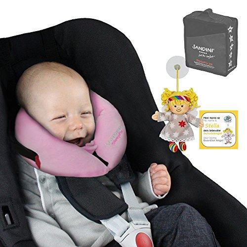 SANDINI SleepFix XS - bebés almohada de seguridad (coche/bicicleta) - NUEVO AJUSTE - Set completo - ROSE -Incluye
