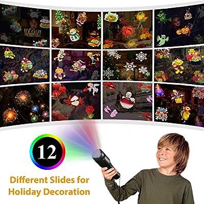 NEXGADGET LED Taschenlampe Projektor Batterie betrieben tragbar 2 in 1 Deko Licht & Handprojektor mit 12 Dias, Kinder Frühen Pädagogischen Spielzeug für Haus Party, Geburtstag, Weihnachten, Halloween von NEXGADGET - Lampenhans.de