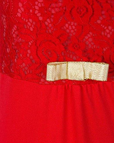 SaiDeng Femme Dentelle Manches Longue Elegante Queue De Poisson Maxi Soiree De Mariage Robe Rouge